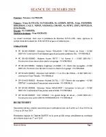 SEANCE DU 18 MARS 2019 COMPTE RENDU