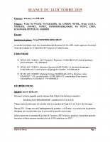 SEANCE DU 14 OCTOBRE 2019 COMPTE RENDU
