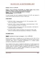 SEANCE DU 16 SEPTEMBRE 2019 COMPTE RENDU