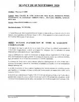 SEANCE DU 09 NOVEMBRE 2020 COMPTE RENDU