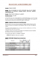 SEANCE DU 14 DECEMBRE 2020 COMPTE RENDU