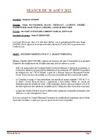 SEANCE DU 30 AOUT 2021 COMPTE RENDU