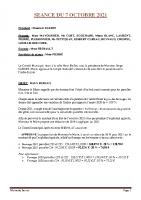 SEANCE DU 7 OCTOBRE 2021 COMPTE RENDU