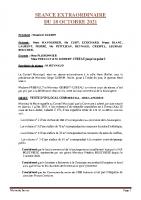 SEANCE EXTRAORDINAIRE DU 18 OCTOBRE 2021 COMPTE RENDU